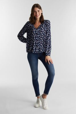 Blouse made from LENZING™ ECOVERO™, NAVY 4, detail