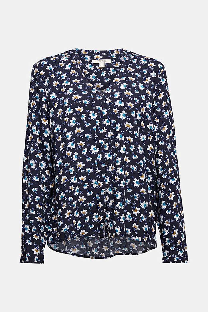 Blouse made from LENZING™ ECOVERO™, NAVY, detail image number 6