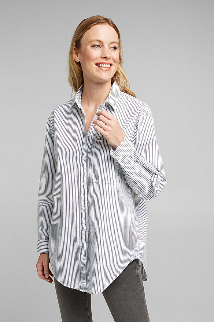 Striped blouse made of 100% organic cotton, LIGHT BLUE, detail image number 0