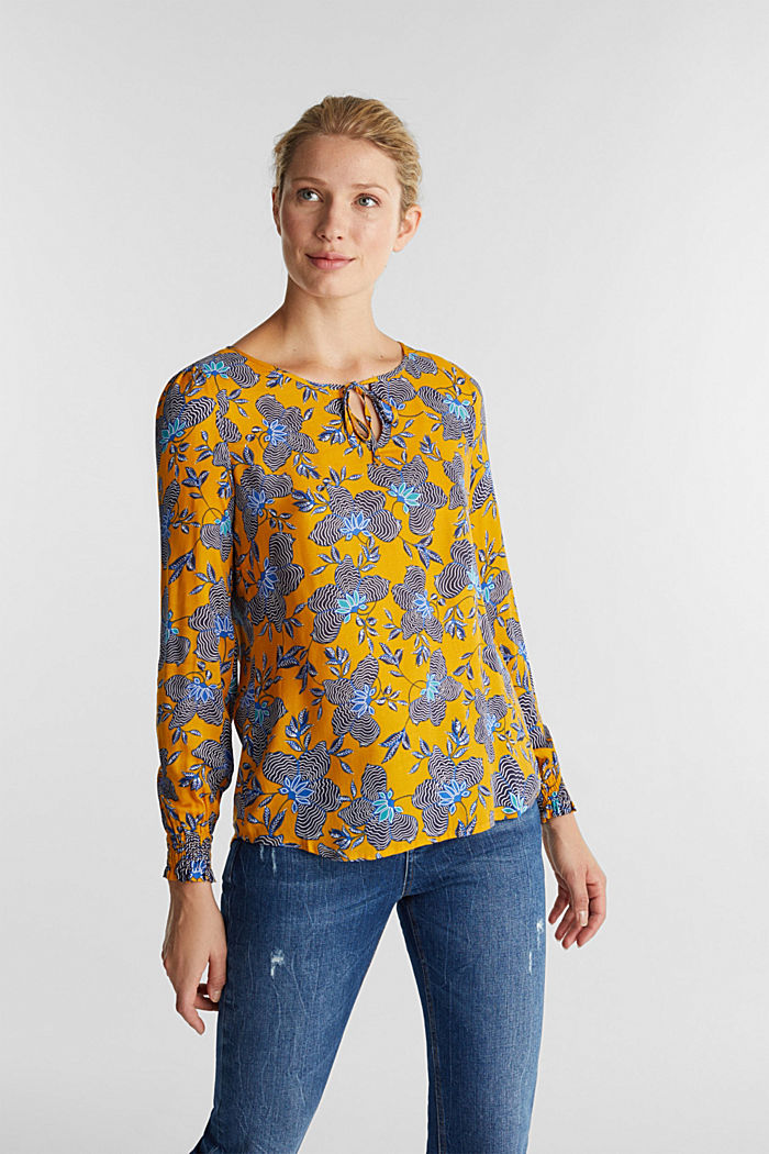 Blouse top made of LENZING™ ECOVERO™, BRASS YELLOW, detail image number 0