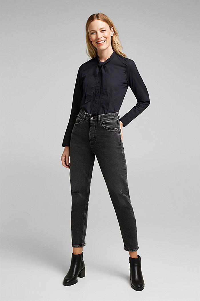 Blouse made of 100% organic cotton, BLACK, detail image number 1
