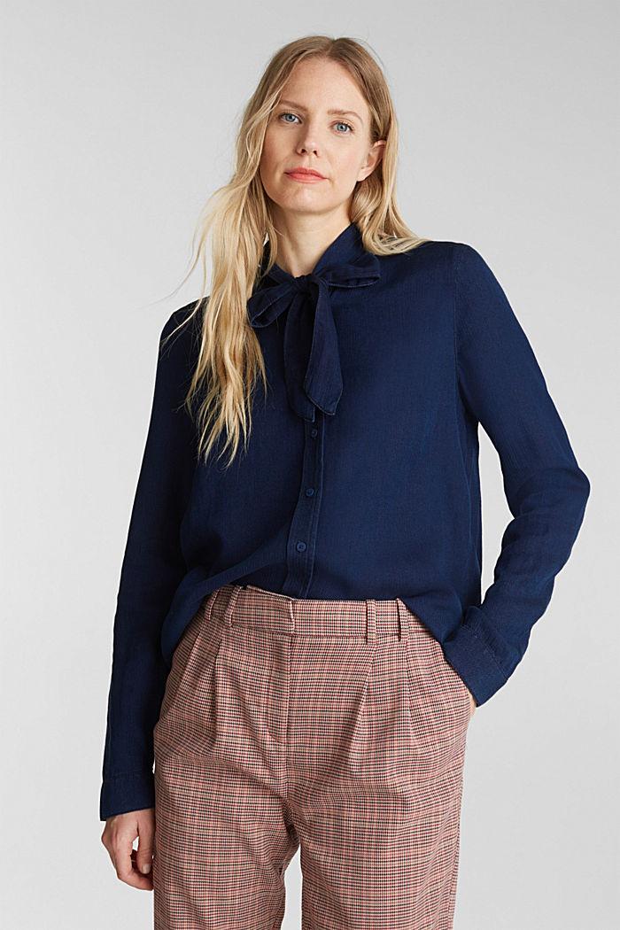Lyocell blend blouse, BLUE DARK WASHED, detail image number 0