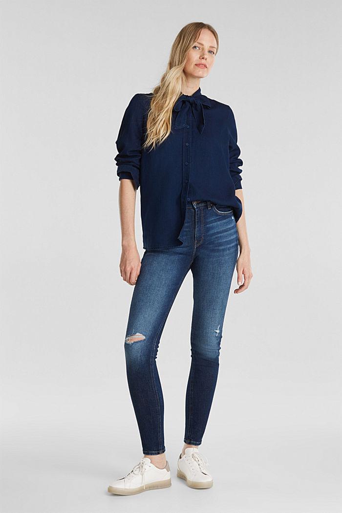Lyocell blend blouse, BLUE DARK WASHED, detail image number 7