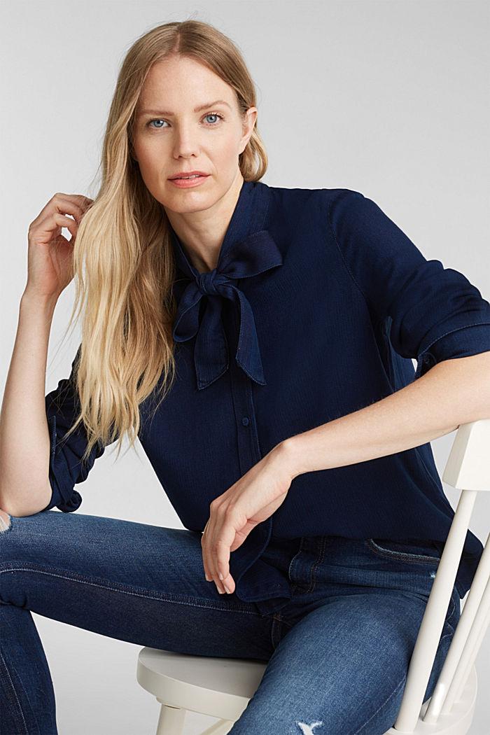 Lyocell blend blouse, BLUE DARK WASHED, detail image number 8