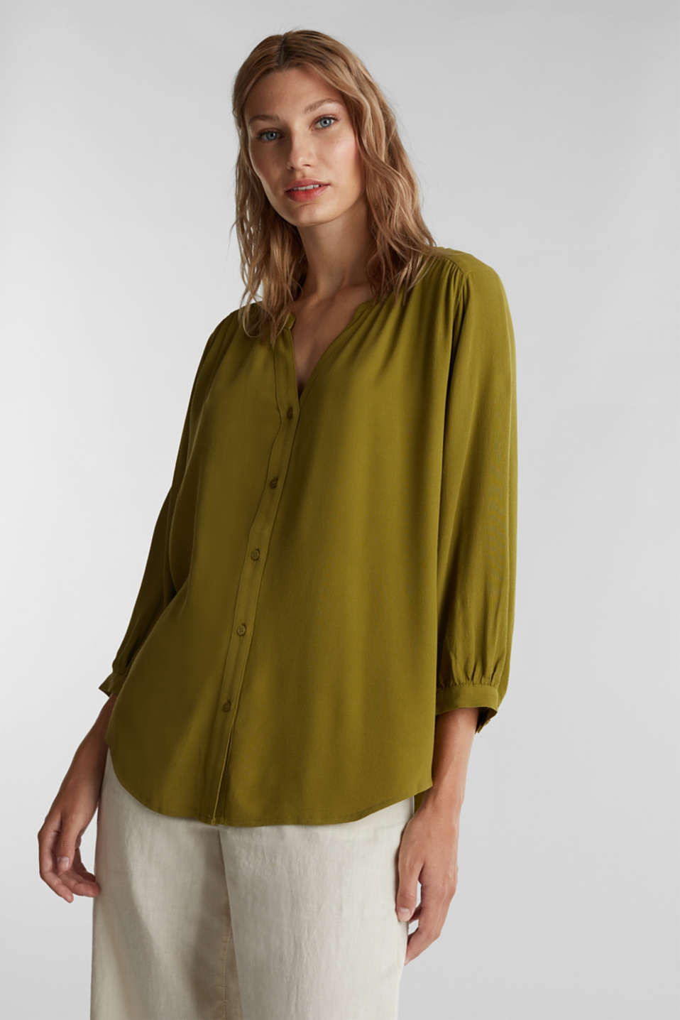 Blouse with LENZING™ ECOVERO™, OLIVE, detail image number 0