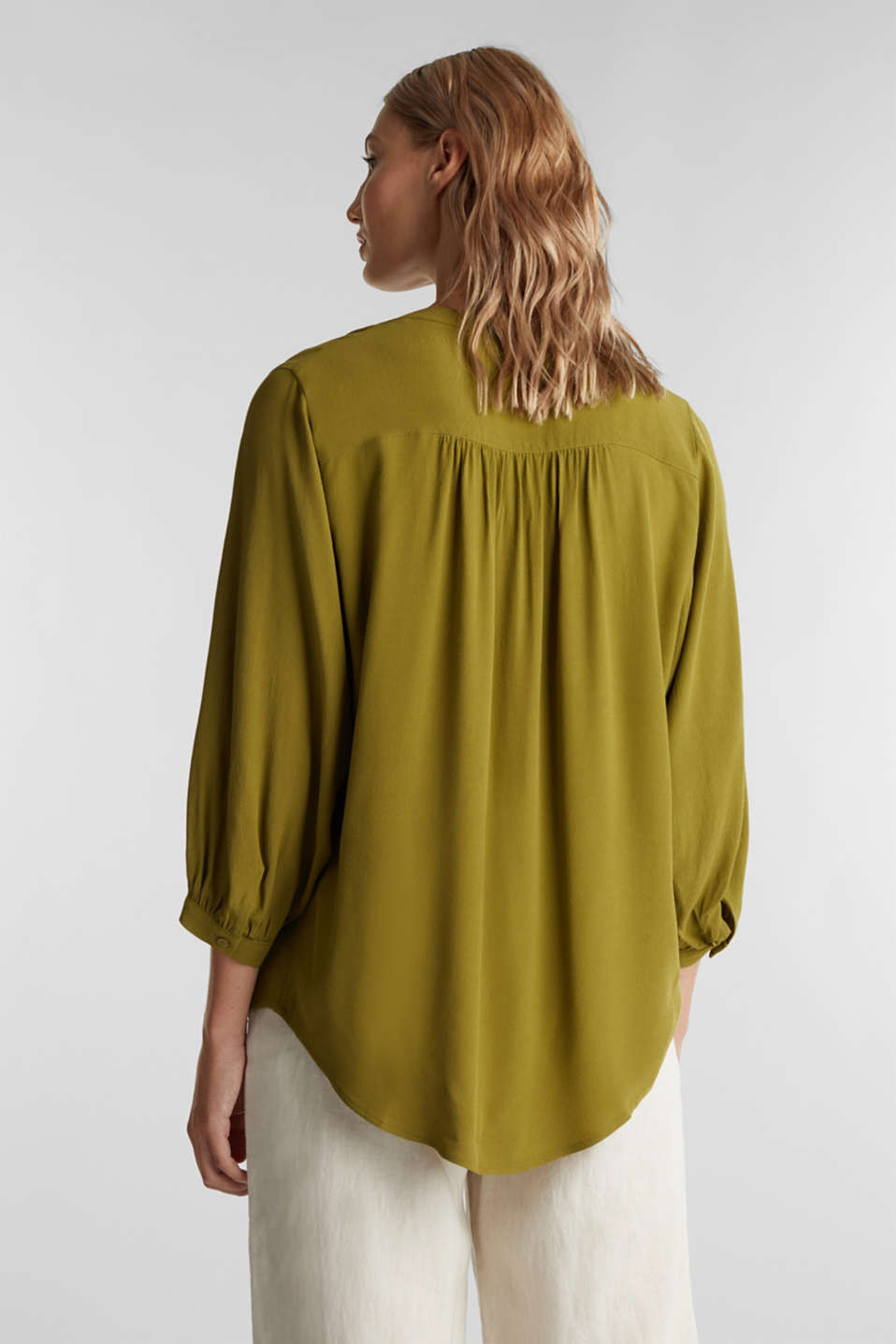 Blouse with LENZING™ ECOVERO™, OLIVE, detail image number 3