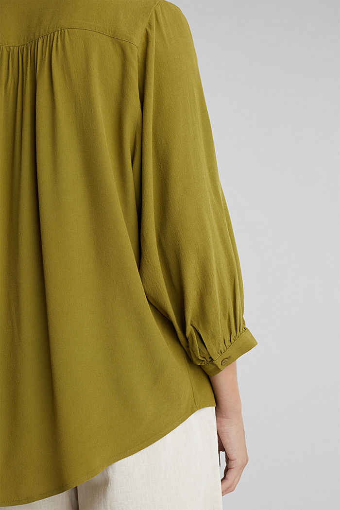 Blouse with LENZING™ ECOVERO™, OLIVE, detail image number 2