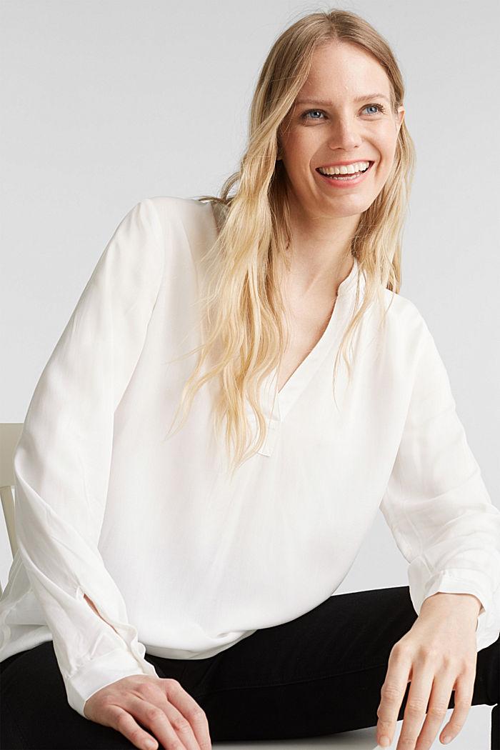 Bluse aus aus LENZING™ECOVERO™, OFF WHITE, detail image number 0