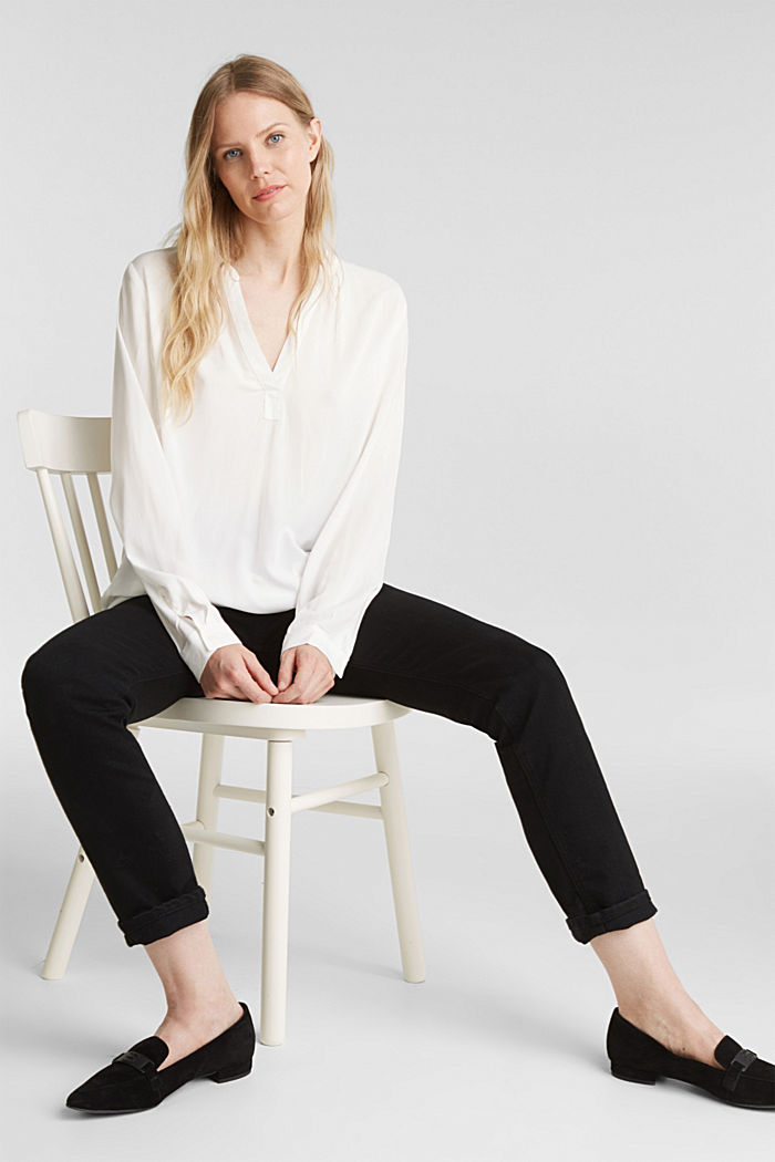 Bluse aus aus LENZING™ECOVERO™, OFF WHITE, detail image number 1