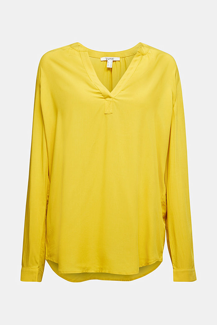 Blouse made of LENZING™ ECOVERO™, BRASS YELLOW, detail image number 4