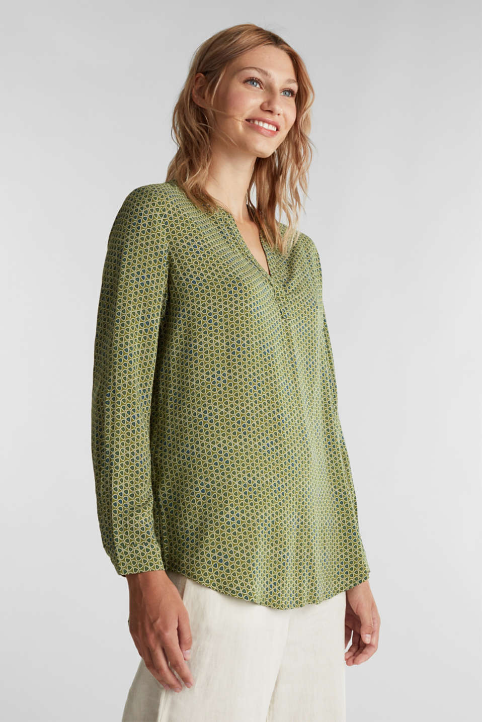 Esprit - Henley blouse made of LENZING™ ECOVERO™