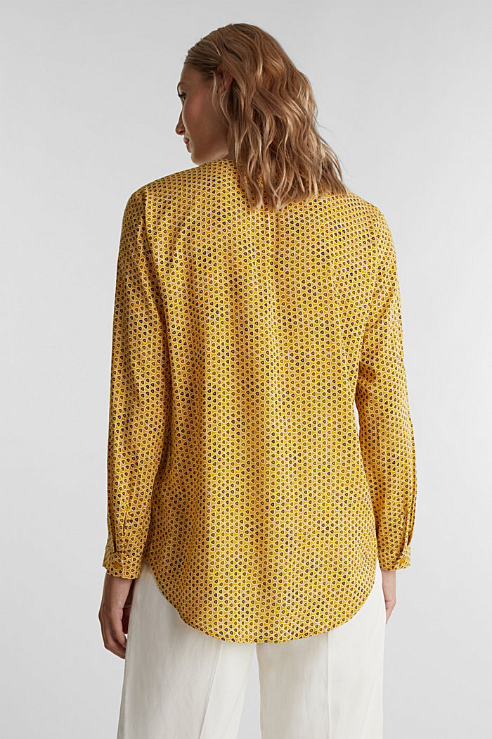 Henley blouse made of LENZING™ ECOVERO™, BRASS YELLOW, detail image number 3