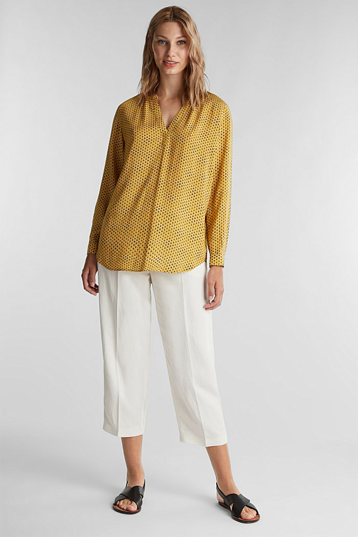 Henley blouse made of LENZING™ ECOVERO™, BRASS YELLOW, detail image number 1