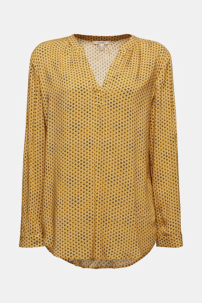 Henley blouse made of LENZING™ ECOVERO™, BRASS YELLOW, detail image number 6