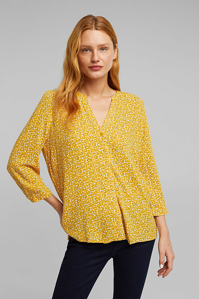 LENZING™ ECOVERO blouse, BRASS YELLOW, detail image number 0