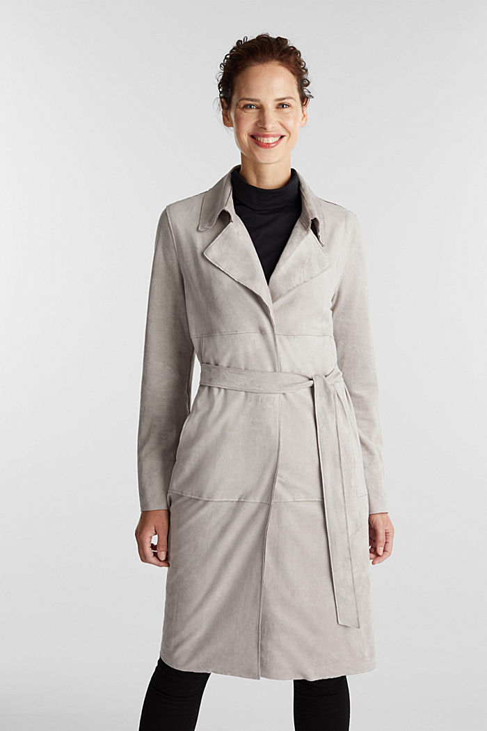 Coat in soft faux-suede, LIGHT GREY, detail image number 0