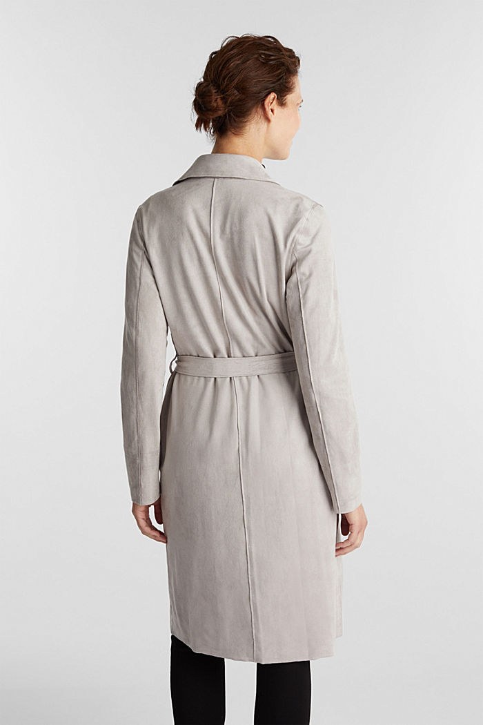 Coat in soft faux-suede, LIGHT GREY, detail image number 3