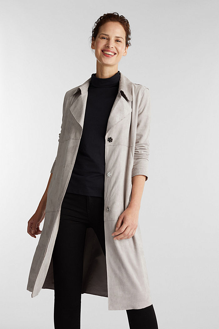 Coat in soft faux-suede, LIGHT GREY, detail image number 5