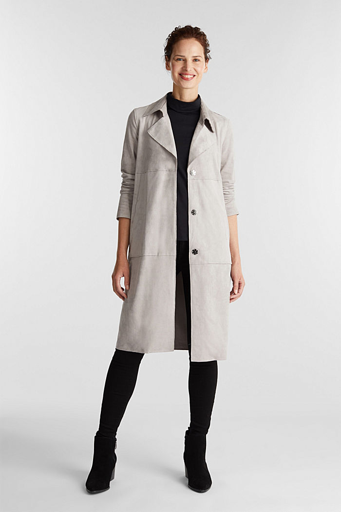 Coat in soft faux-suede, LIGHT GREY, detail image number 1