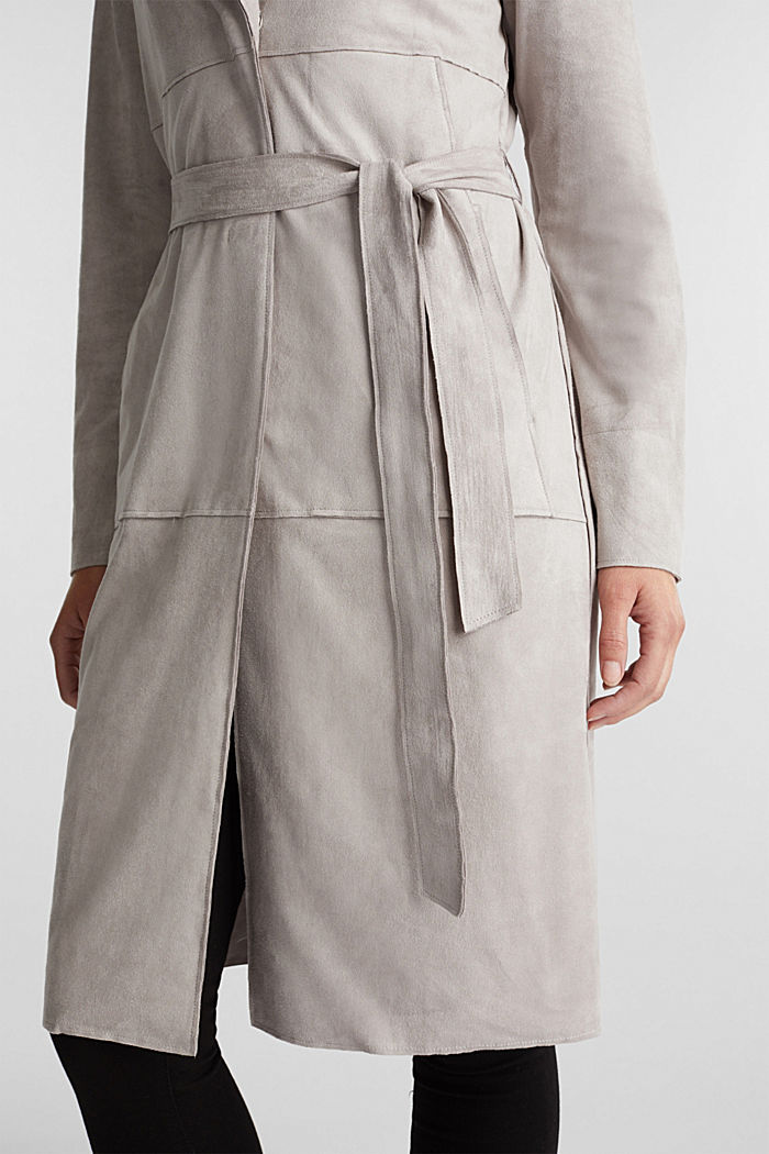 Coat in soft faux-suede, LIGHT GREY, detail image number 2