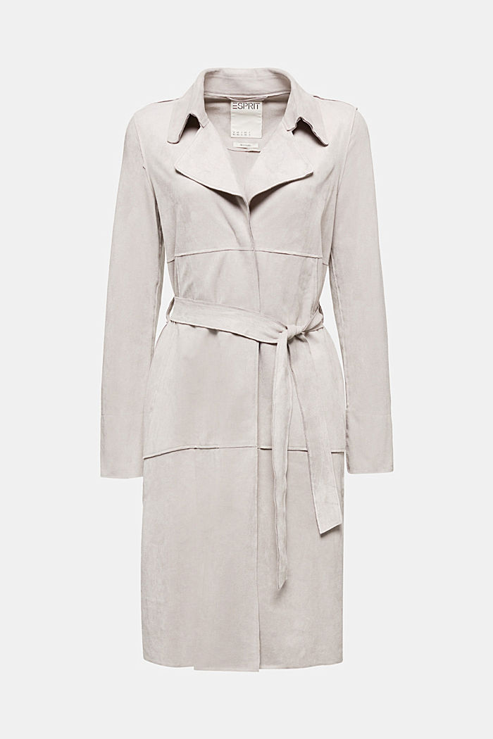 Coat in soft faux-suede, LIGHT GREY, detail image number 6