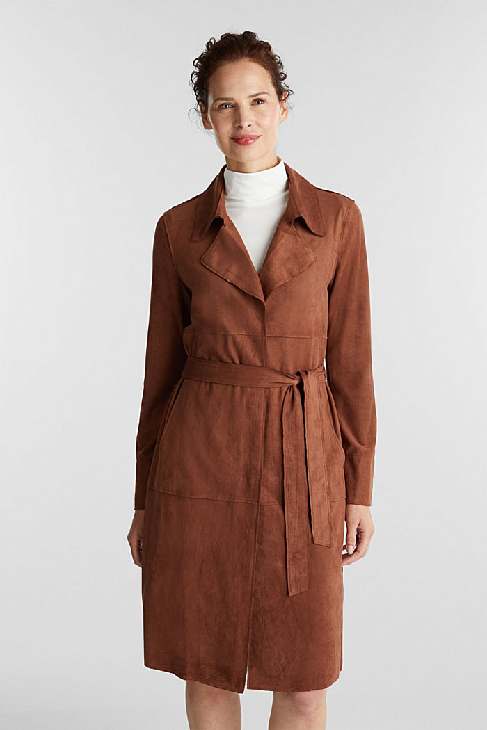 Coat in soft faux-suede, BROWN, detail image number 0