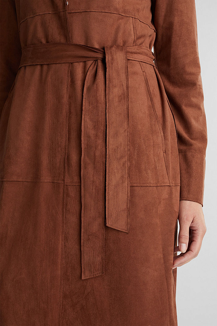 Coat in soft faux-suede