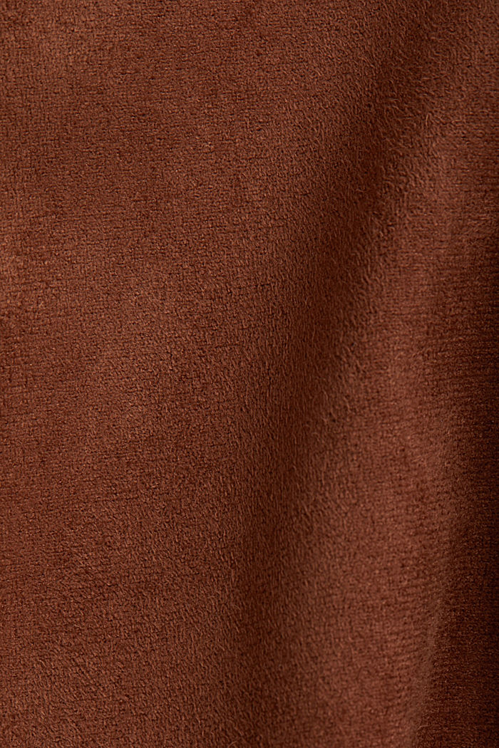 Coat in soft faux-suede, BROWN, detail image number 4