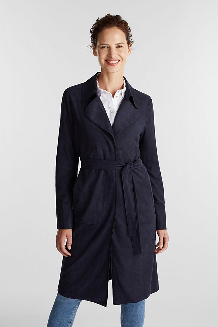 Coat in soft faux-suede, NAVY, detail image number 5