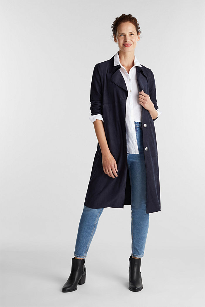 Coat in soft faux-suede, NAVY, detail image number 1