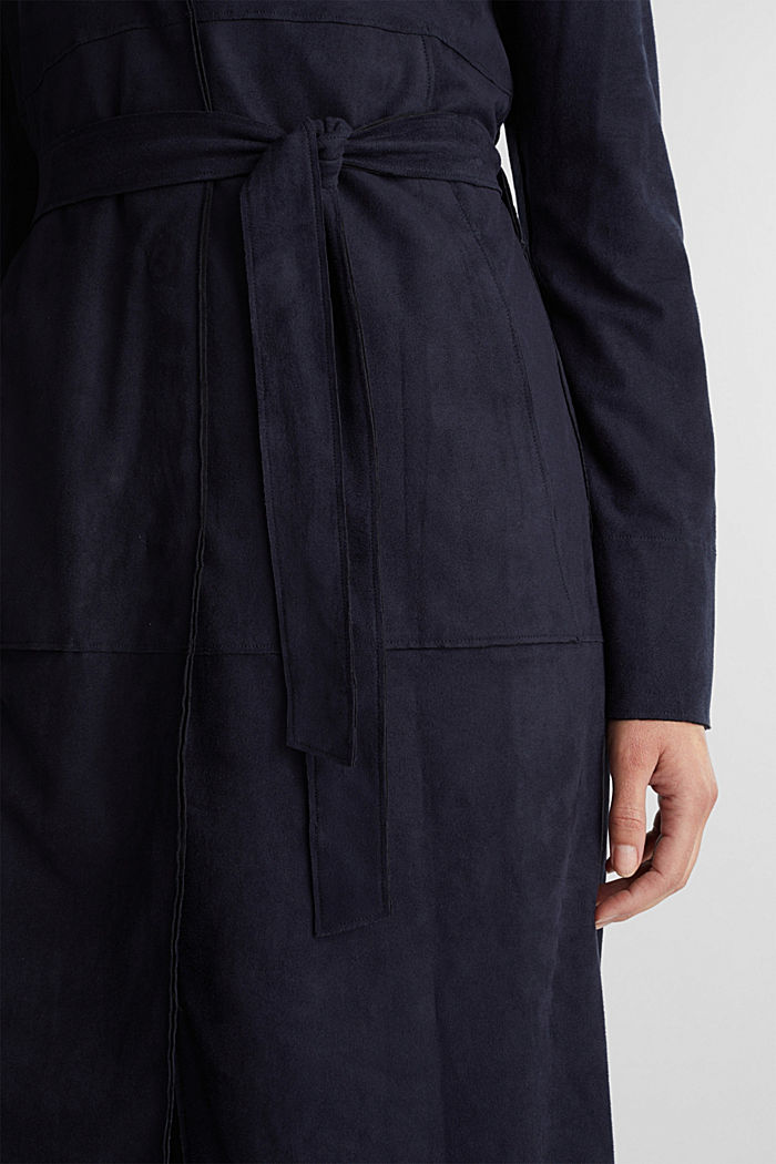 Coat in soft faux-suede, NAVY, detail image number 2