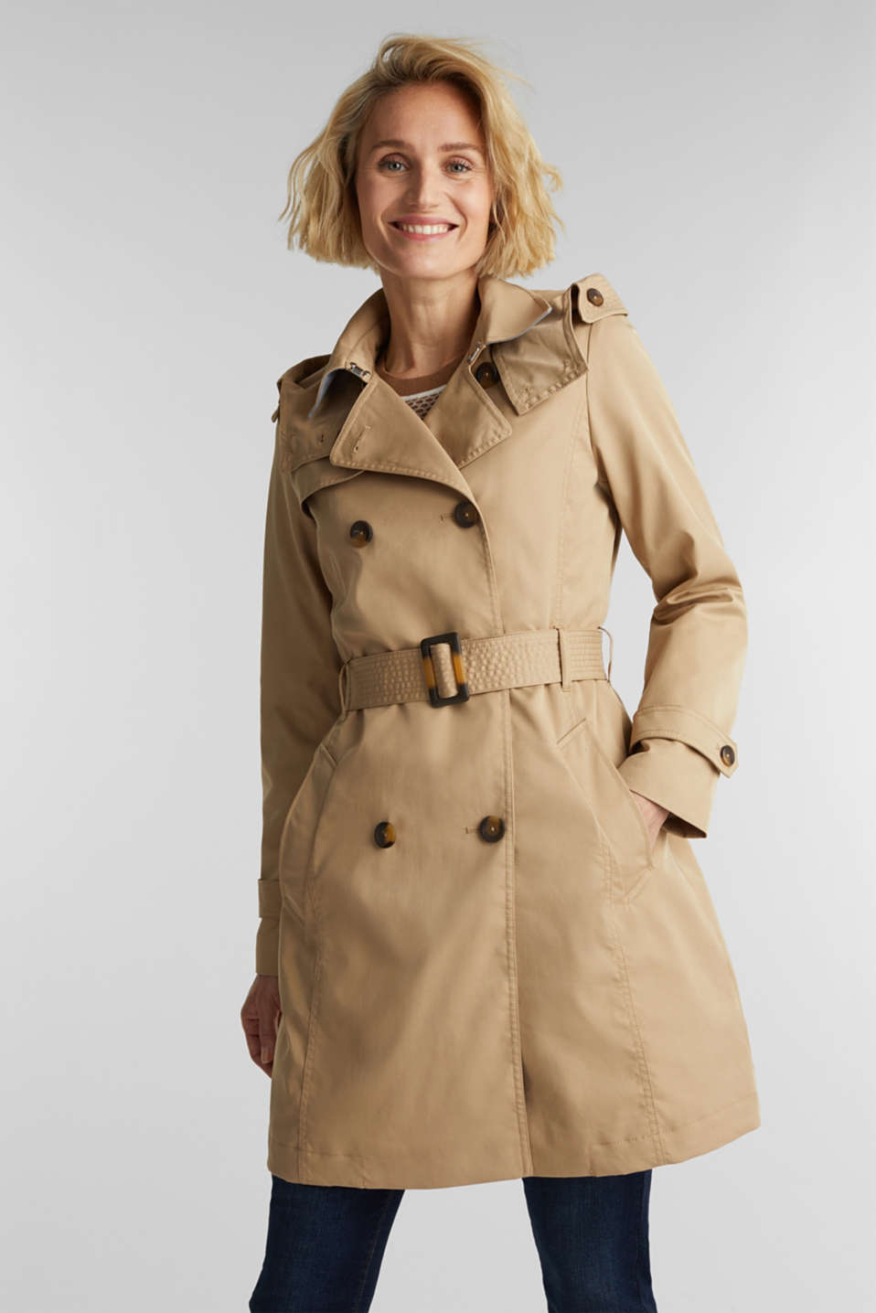 Esprit - Trench coat with adjustable padding