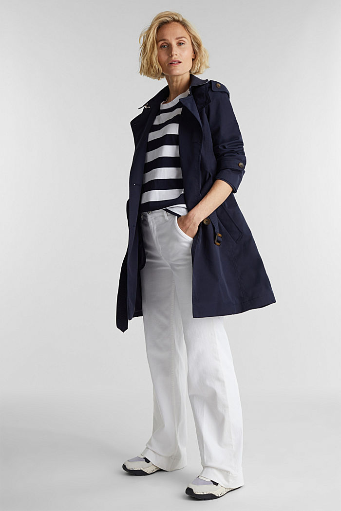 Trench coat with adjustable padding, NAVY, detail image number 1
