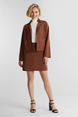 Recycled: faux suede jacket, BROWN, detail