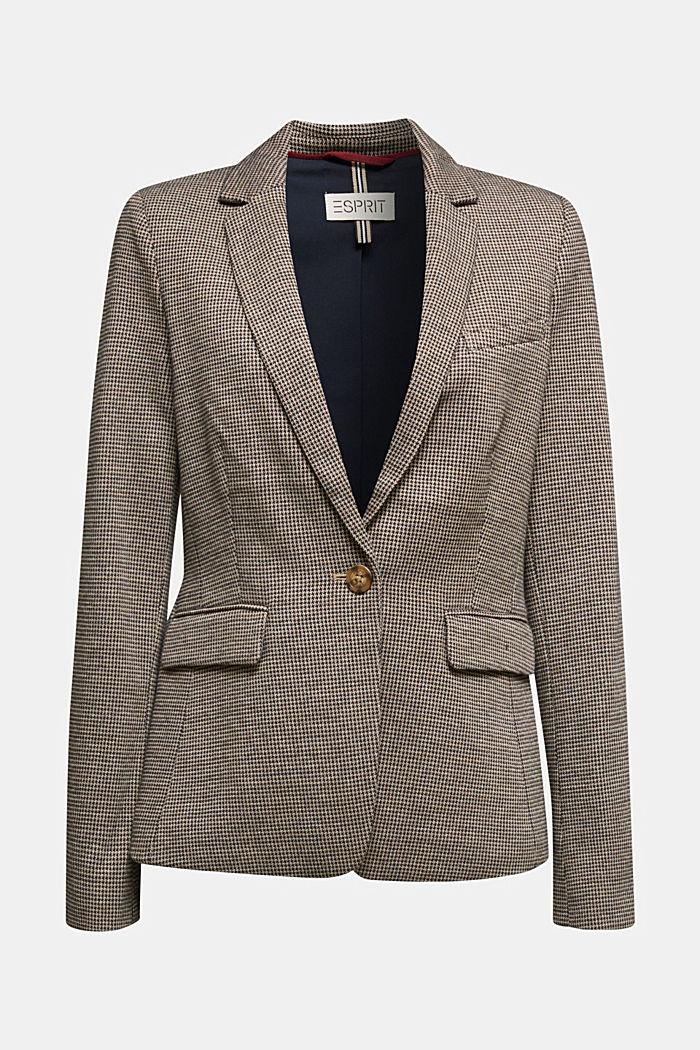 Jersey-Blazer mit Hahnentritt