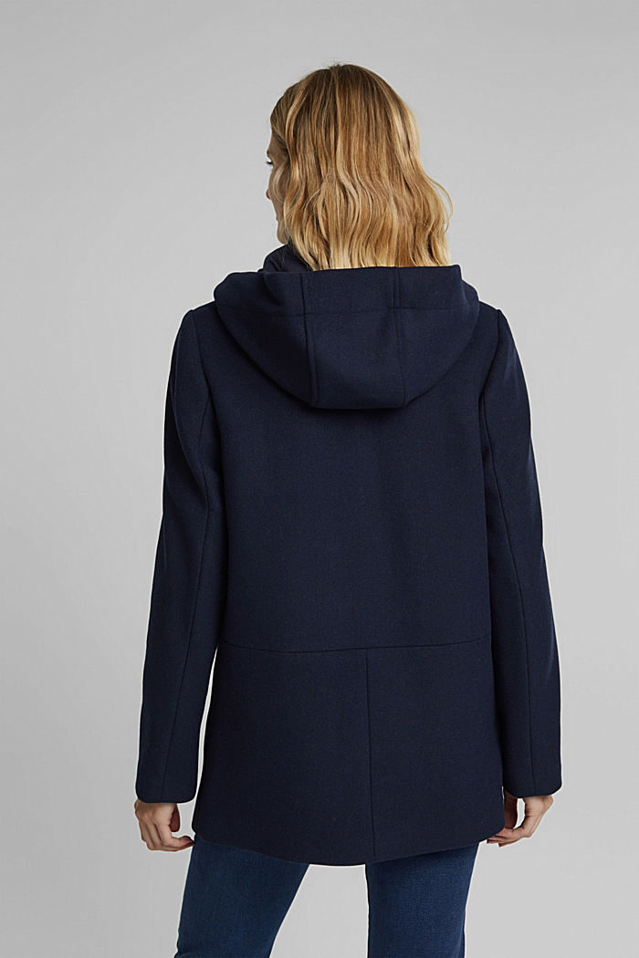 Recycled: Hoodie with wool, NAVY, detail image number 3