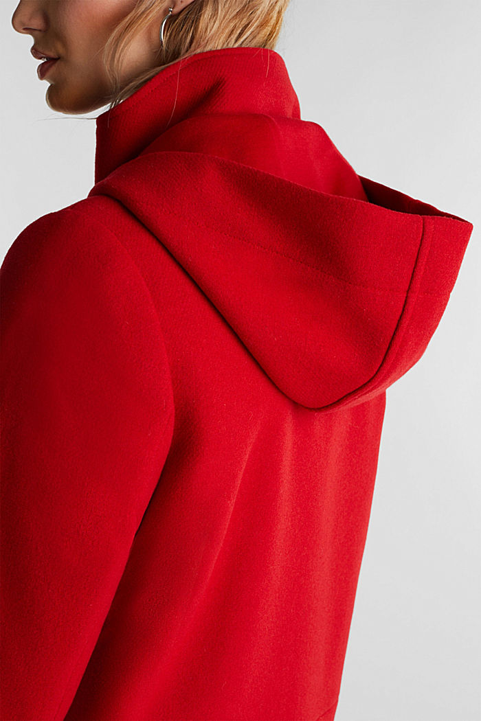 Recycelt: Kapuzenjacke mit Wolle, DARK RED, detail image number 2