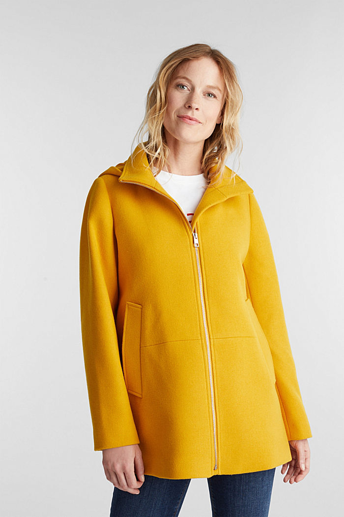 Recycled: Hoodie with wool, BRASS YELLOW, detail image number 0