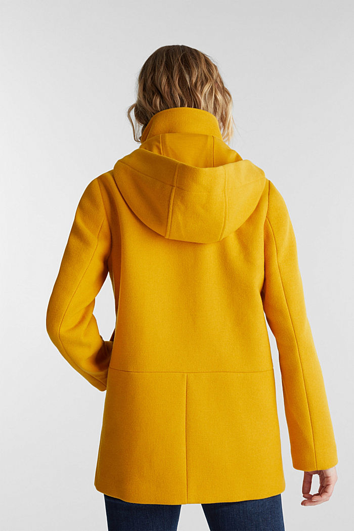Recycled: Hoodie with wool, BRASS YELLOW, detail image number 2