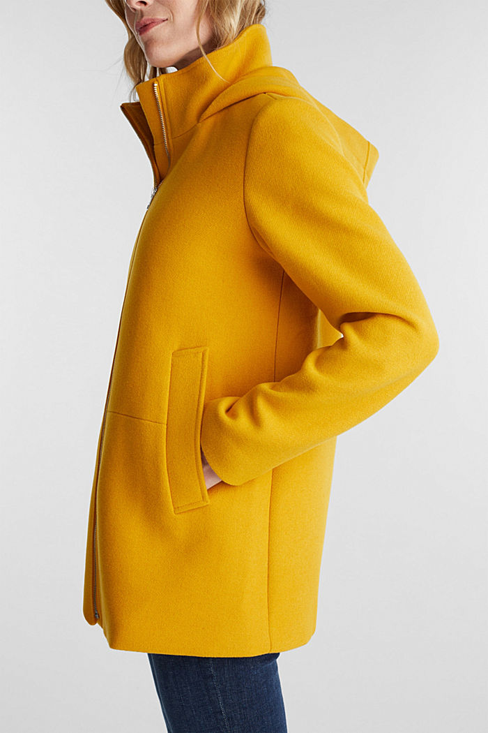 Recycled: Hoodie with wool, BRASS YELLOW, detail image number 4