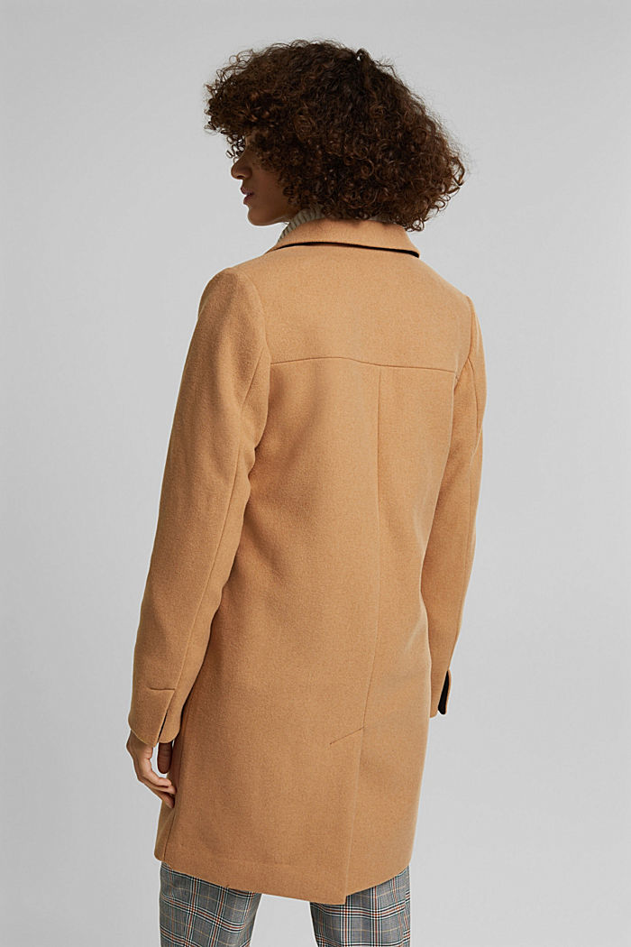 Coat with recycled wool, CAMEL, detail image number 3