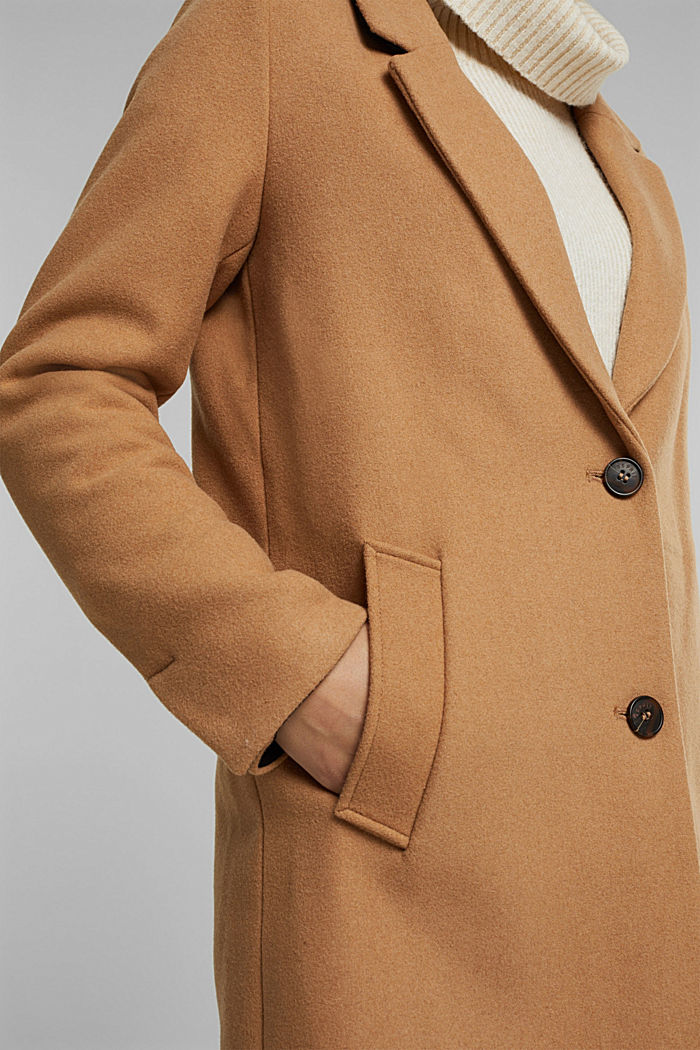 Coat with recycled wool, CAMEL, detail image number 2