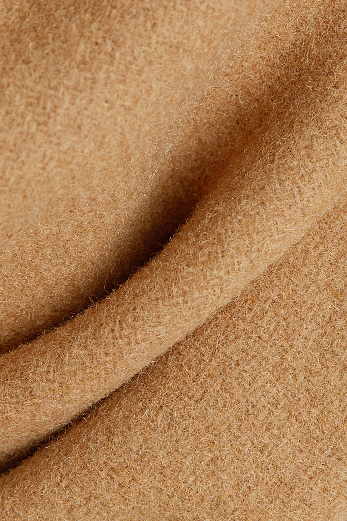 Coat with recycled wool, CAMEL, detail image number 4