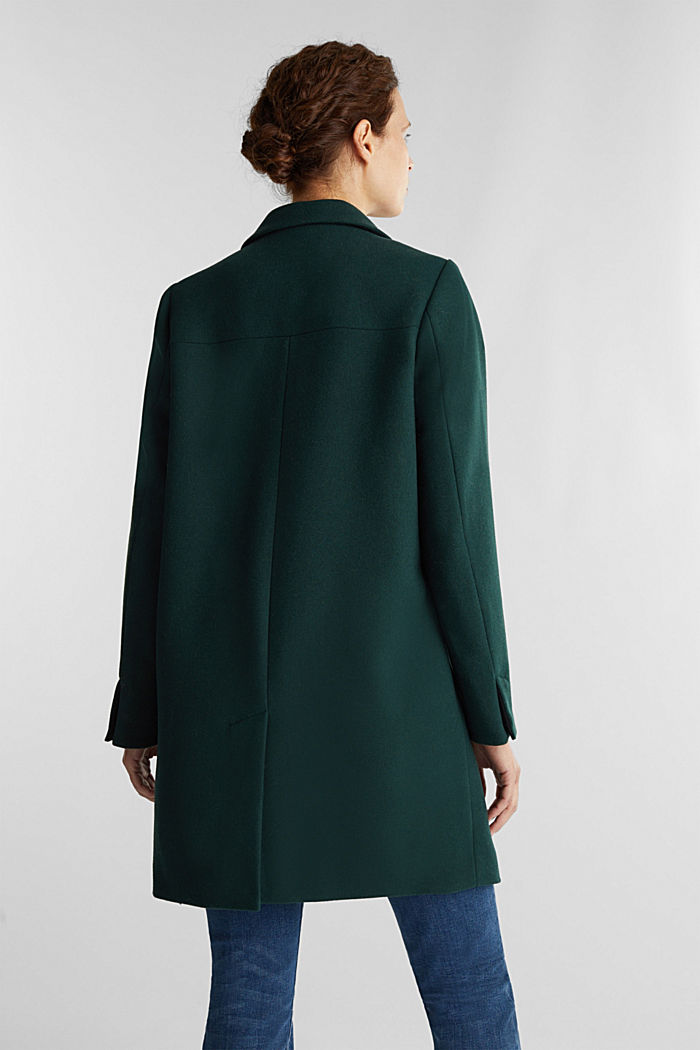 Coat made of blended recycled wool, DARK GREEN, detail image number 3