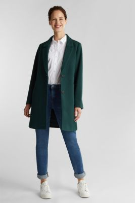 Coat made of blended recycled wool, DARK GREEN, detail