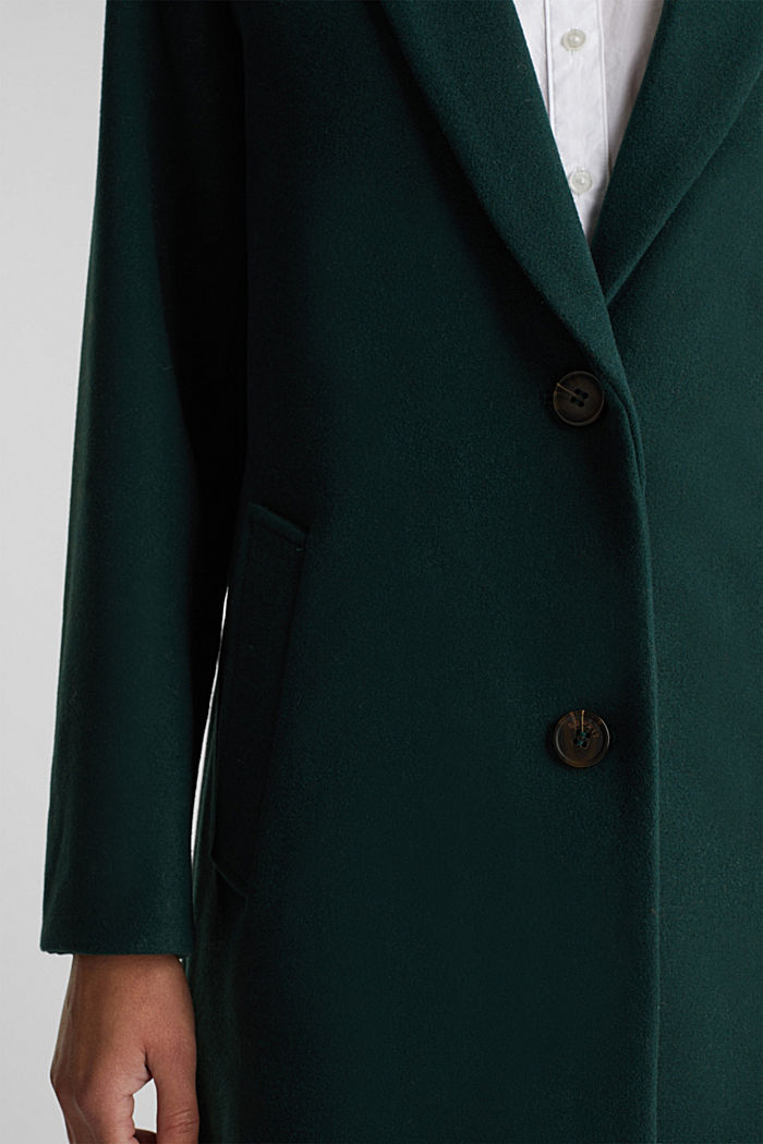 Coat made of blended recycled wool, DARK GREEN, detail image number 2