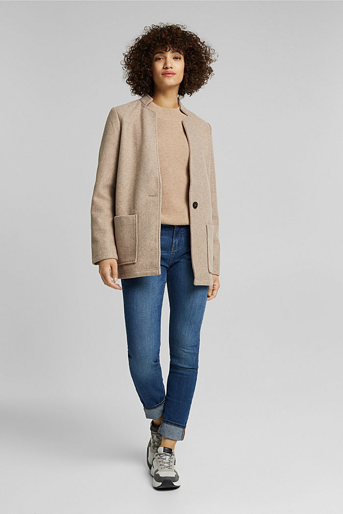Recycled: faux wool jacket, CREAM BEIGE, detail image number 1