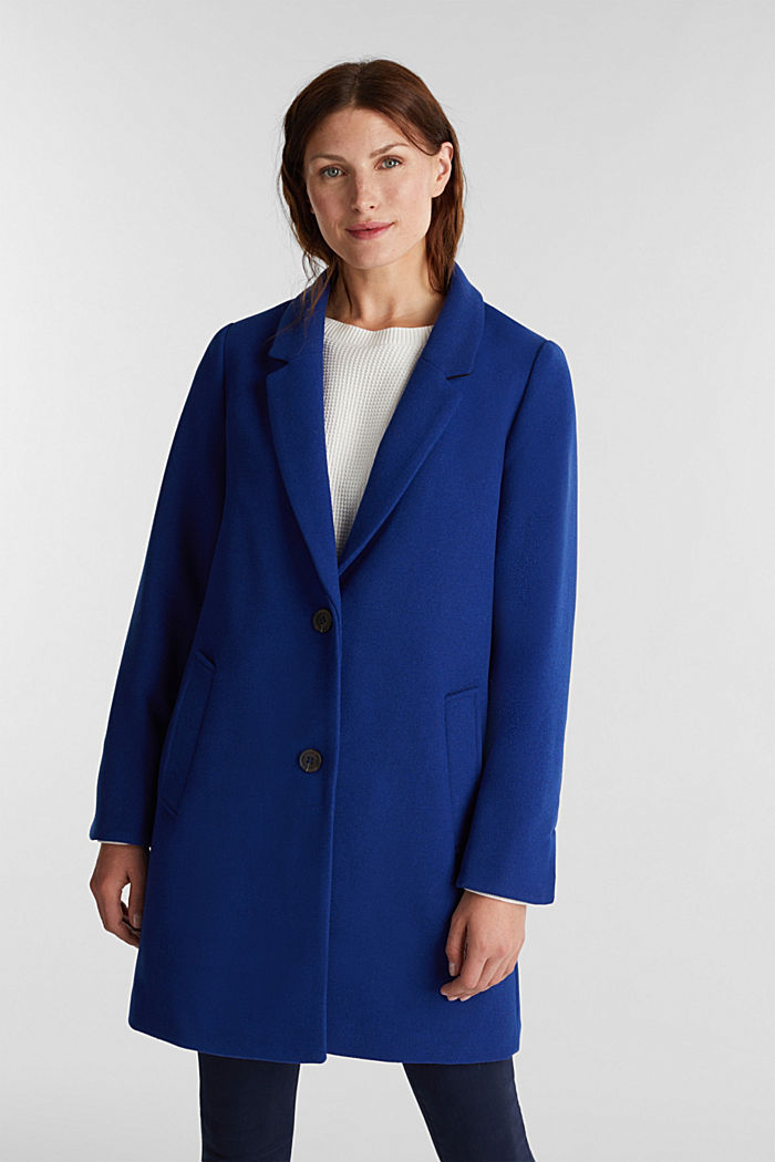 Recycled: blazer coat in a wool blend, BRIGHT BLUE, detail image number 0
