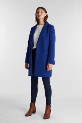 Recycled: blazer coat in a wool blend, BRIGHT BLUE, detail