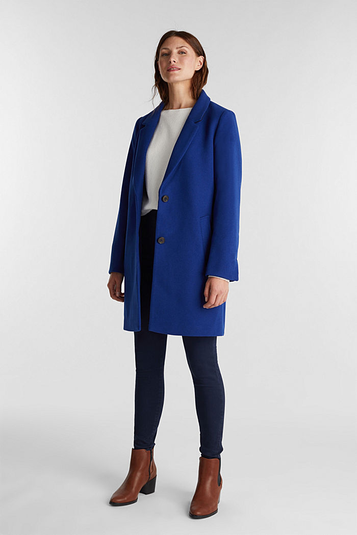 Recycled: blazer coat in a wool blend, BRIGHT BLUE, detail image number 1